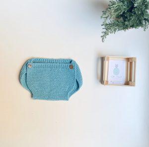 Cubrepañal lana turquesa