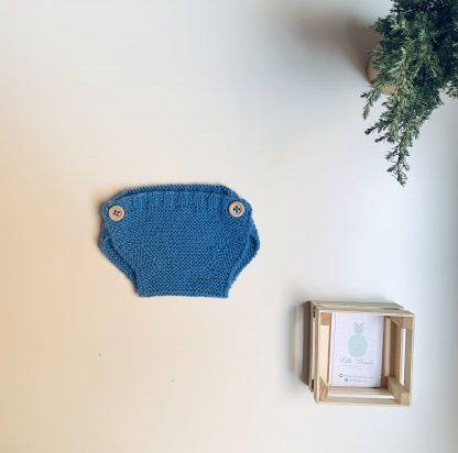 Cubrepañal lana azul