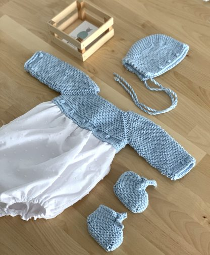 Conjunto bodoques celeste algodón